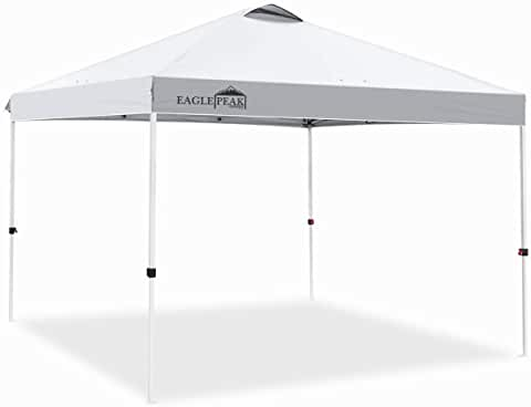 Customer setup tents must be staked onto grass or dirt.  They will not anchor into concrete.