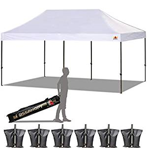 10 ft x 20 ft pop up. Customer setup tents must be staked onto grass or dirt.  They will not anchor into concrete.