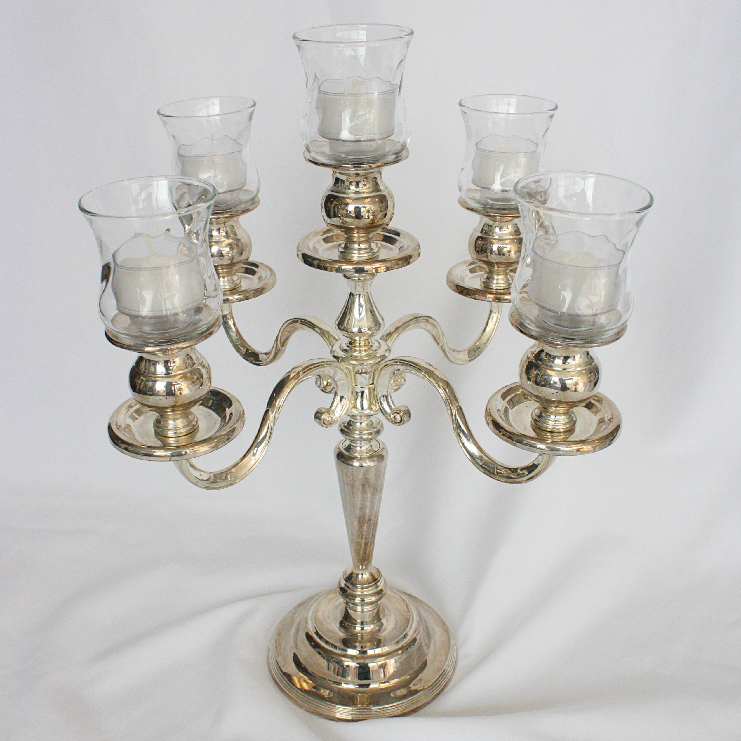 5 branch tabletop candelabra