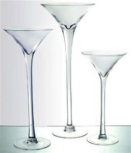 martini glass tall stemmed set of 3
